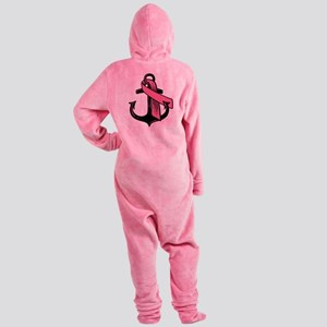 Pink Ribbon Anchor Footed Pajamas