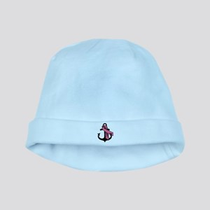 Pink Ribbon Anchor baby hat