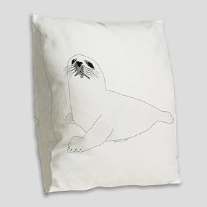 Baby Harp Seal Burlap Throw Pillow