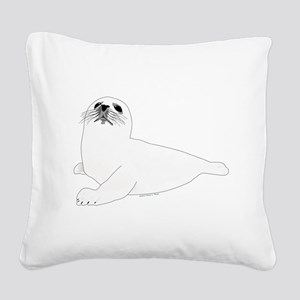 Baby Harp Seal Square Canvas Pillow