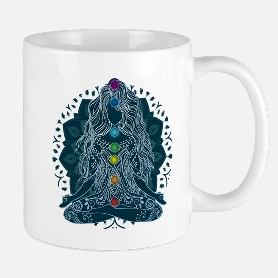 Yoga Girl Pose Blue Mugs
