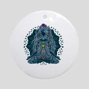 Yoga Girl Pose Blue Round Ornament