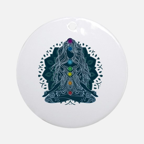 Yoga Girl Pose Blue Round Ornament