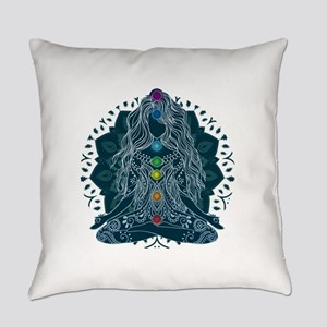 Yoga Girl Pose Blue Everyday Pillow