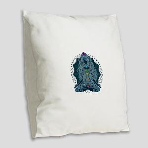 Yoga Girl Pose Blue Burlap Throw Pillow