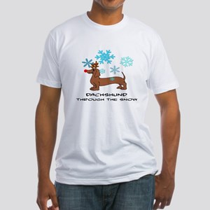 DACHSHUND THROUGH THE SNOW - DOGS Fitted T-Shirt