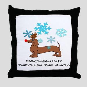 DACHSHUND THROUGH THE SNOW - DOGS Throw Pillow