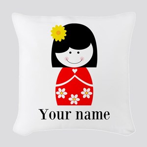 Girl (p) Woven Throw Pillow