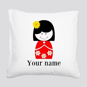 Girl (p) Square Canvas Pillow