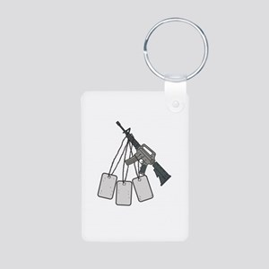 M4 Carbine Dog Tags Hanging Drawing Keychains