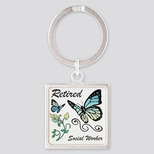 Retired Social Worker Square Keychain