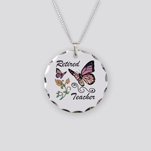 Retired Teacher Necklace Circle Charm