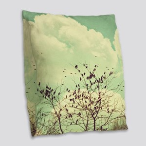 Birds of a Feather Burlap Throw Pillow