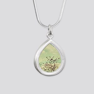 Birds of a Feather Silver Teardrop Necklace