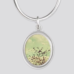 Birds of a Feather Silver Oval Necklace