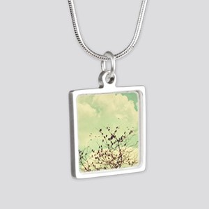 Birds of a Feather Silver Square Necklace
