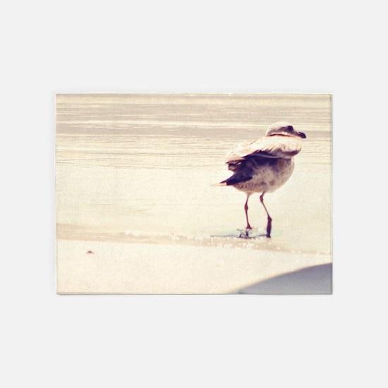 Bird at the Beach 5'x7'Area Rug