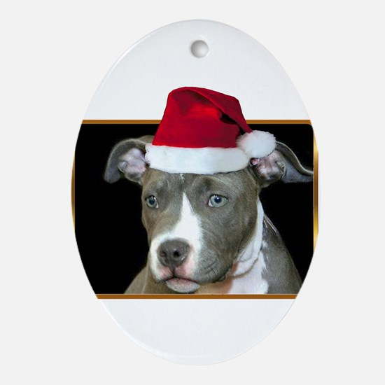 Christmas pitbull puppy.png Oval Ornament