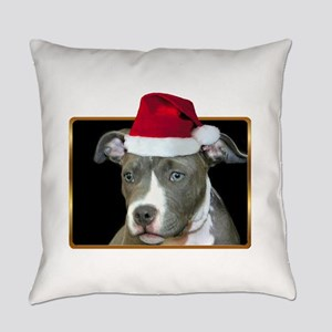 Christmas pitbull puppy Everyday Pillow