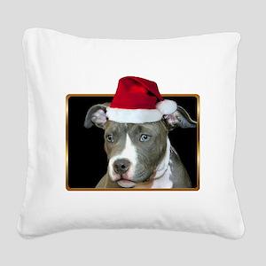 Christmas pitbull puppy Square Canvas Pillow