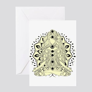Yoga Girl tan off white sitting pos Greeting Cards