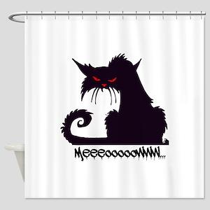 Scary Halloween Black Cat Shower Curtain