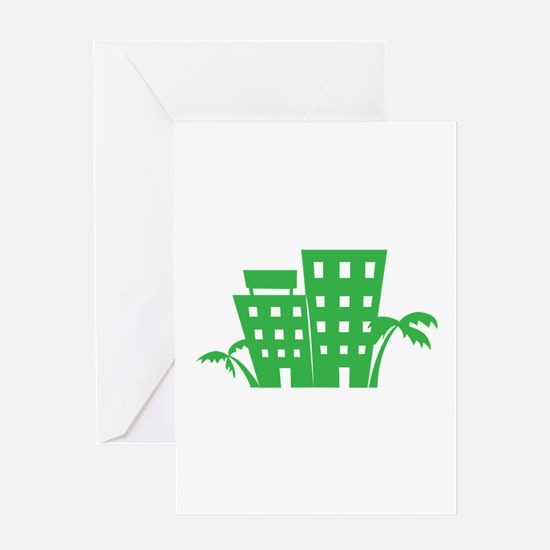 Palms & Buildings Greeting Cards