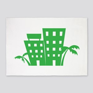 Palms & Buildings 5'x7'Area Rug