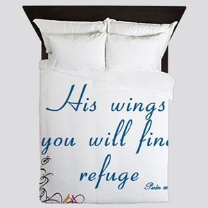UNDER HIS WINGS YOU WILL FIND REFUGE - Queen Duvet