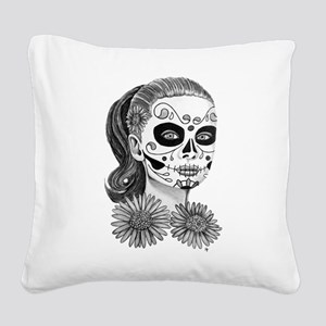 Audrey and Asters Square Canvas Pillow