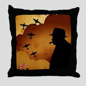 W. Churchilll at WW2 Throw Pillow