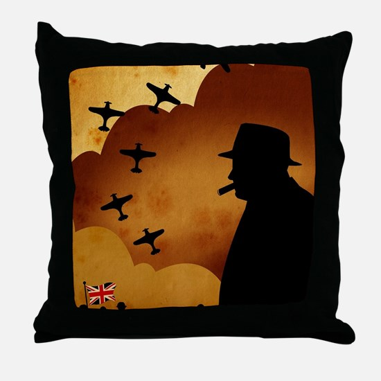 W. Churchilll at WW2 Throw Pillow