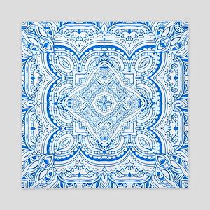 Mosaic line design blue  Queen Duvet