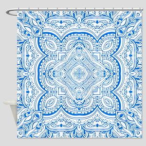 Mosaic line design blue  Shower Curtain
