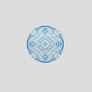 Mosaic line design blue  Mini Button