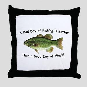 Bad Day Fishing Bass Throw Pillow