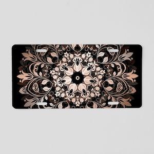 Rose Gold Black Floral Mand Aluminum License Plate