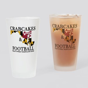 Old School Crabcakes & Football Drinking Glass