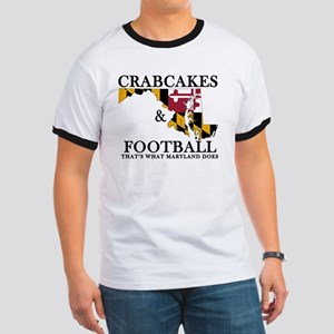 Old School Crabcakes & Football Ringer T