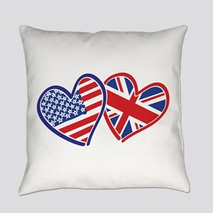 Usa And Uk Flag Hearts Everyday Pillow