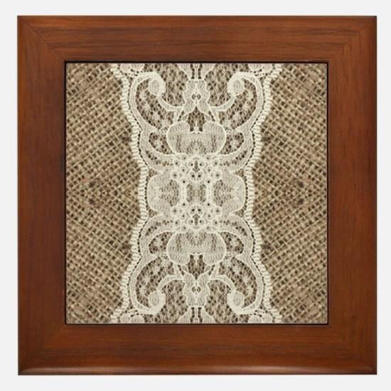 Rustic chic burlap lace Framed Tile