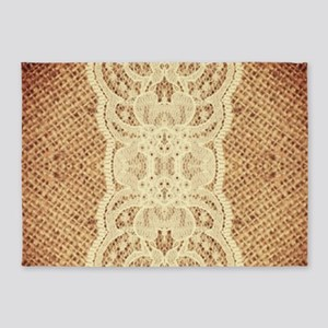 Western country burlap lace 5'x7'Area Rug