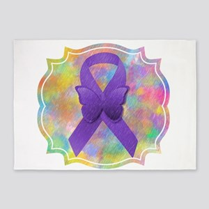 Purple Awareness Ribbon 5'x7'Area Rug