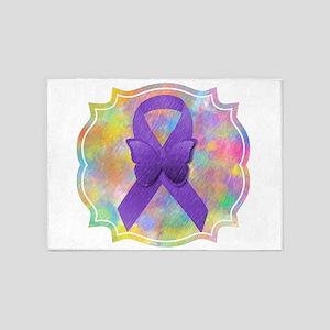 Purple Awareness Ribbon 5'x7'Area Rug