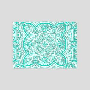 Cyan Pattern Mosaic 5'x7'Area Rug