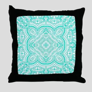 Cyan Pattern Mosaic Throw Pillow
