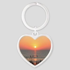Outer Banks Sunrise Heart Keychain
