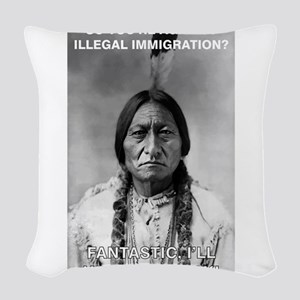 illegal immigration Woven Throw Pillow