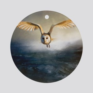 An barn owl flies over the lake Round Ornament