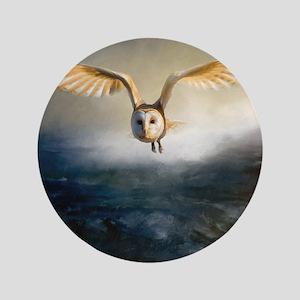 An barn owl flies over the lake Button
